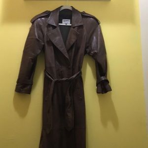 Pastiche Brown Leather Trench Coat Size 6
